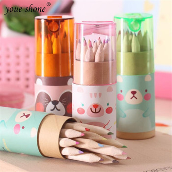 12Pcs/Box Mini Crayons Pencils Stationery Cute Bear Pencils For School Girl Boy Colored Pencils YOUE SHONE