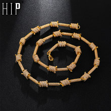 Hip Hop 7MM Iced Out Bling AAA CZ Cubic Zirconia Spiral Link Chain Necklace For Men Rapper Jewelry Copper Gold   18-24inch фаулер мартин шаблоны корпоративных приложений
