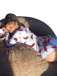 Женский комбинезон с длинным рукавом, сексуальный Облегающий комбинезон с принтом и пуговицами, облегающая одежда, футболка с глубоким v-об...