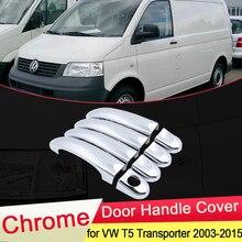 Para volkswagen vw t5 transporter 2003 ~ 2015 chrome maçaneta da porta capa guarnição exterior abs conjunto adesivos de carro tampa acessórios 2004 2005
