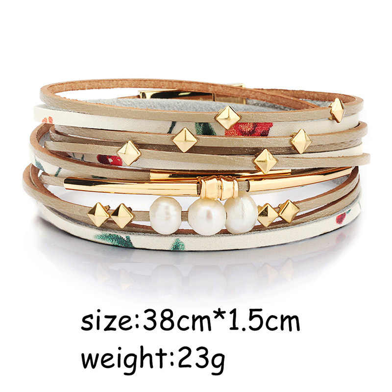 2020 Braid Gelang Kulit untuk Wanita Fashion Alloy Magnetik Gesper Multilayer WRAP Wanita Mutiara Gelang Bangle Perhiasan Hadiah
