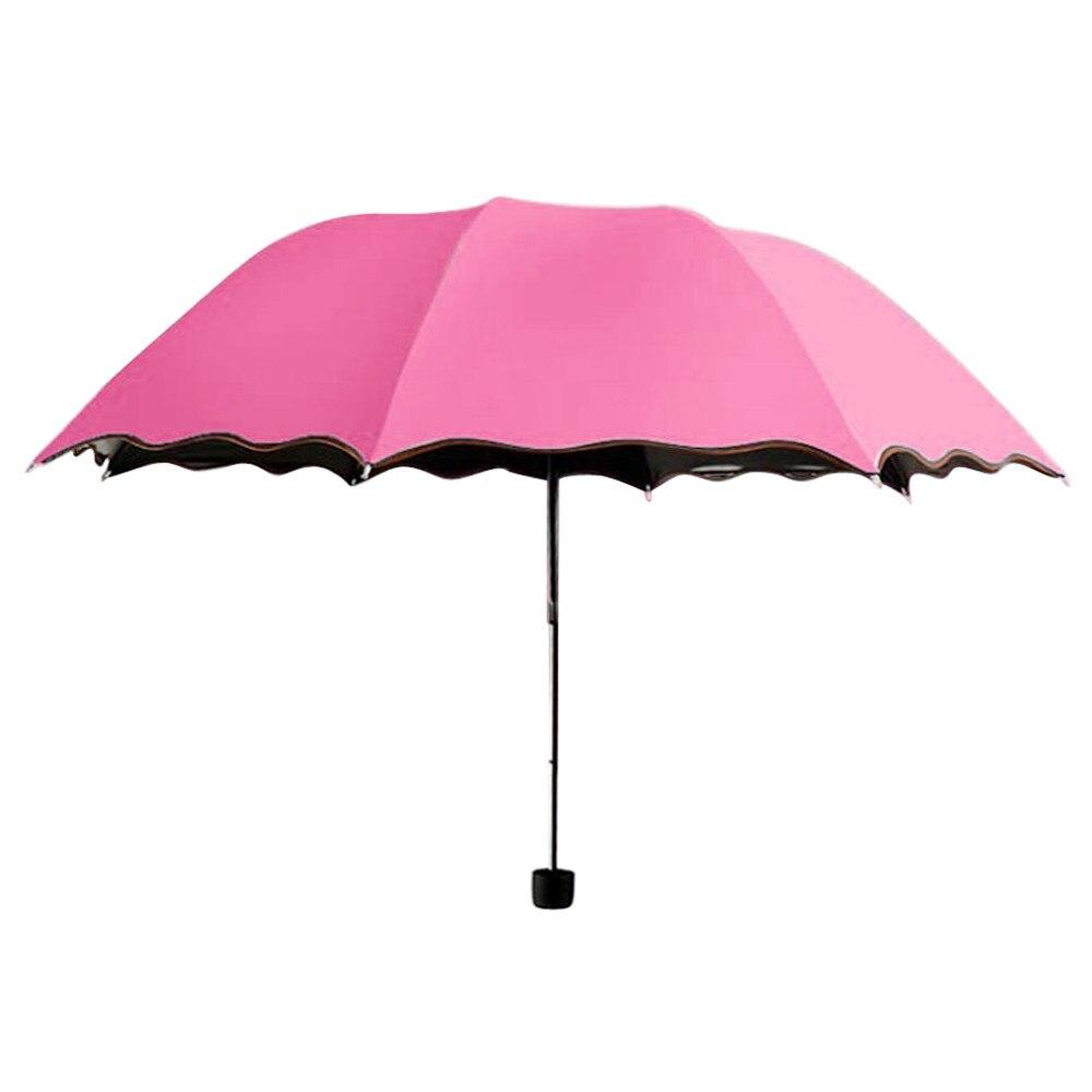 Дорожный зонтик, складной дождевик, ветрозащитный зонтик, складной, анти-УФ, Защита от Солнца/дождя, зонтик, женский подарок, для девочек, анти-УФ, водонепроницаемый, портативный - Цвет: Hot Pink