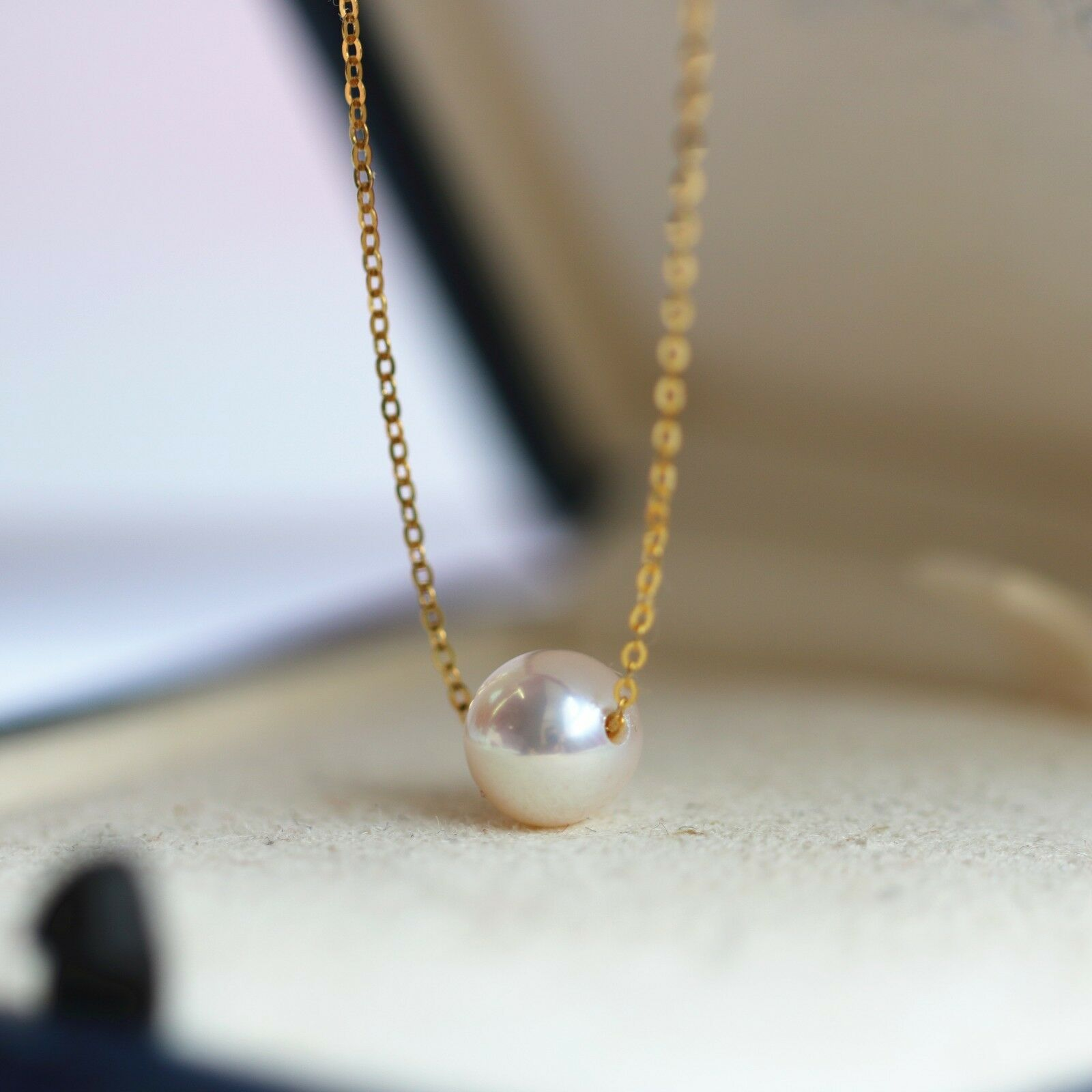 elegant 7-7.5mm Japan Akoya white round pearl necklace 18inch 18k solid gold