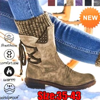Buty zimowe damskie podstawowe damskie buty ze skórki cielęcej okrągłe Toe Zip platforma Decor buty damskie ciepłe sznurowane buty buty tanie i dobre opinie KAMUCC Połowy łydki Pasuje prawda na wymiar weź swój normalny rozmiar Okrągły nosek Zima Lace-up Patchwork Kopyt obcasy