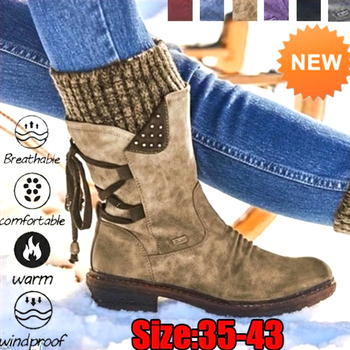Winter Boots Women Basic Women Mid-Calf Boots Round Toe Zip Platform Decor Female Shoes Warm Lace Up Boots Shoes haraval handmade winter woman long boots luxury flock round toe soft heel shoes elegant casual warm retro buckle solid boots 289