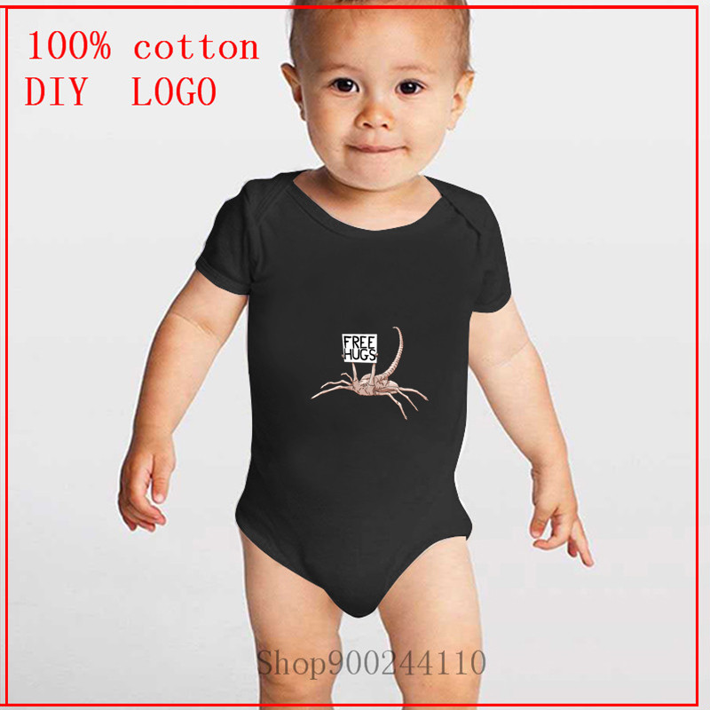 Newborn Baby Boys Bodysuit Short-Sleeve Onesie Free Hugs Print Rompers Autumn Pajamas