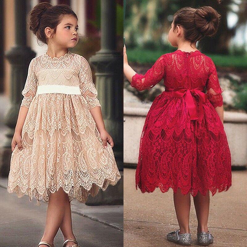 XMAS Toddler Kids Baby Girl Flower Lace Crochet Tutu Dress Princess Vestidos Sleeveless Formal Party Pageant Wedding Dresses