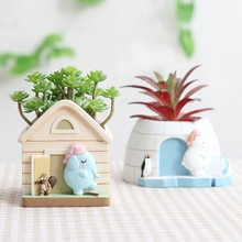 Get more info on the Cute Cartoon Lovely Small House Flower Pot Resin Flower Pot Succulent Plant Pot Home Micro Landscape Potted Desktop Decoration