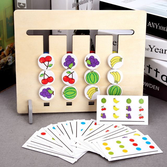 Wooden Montessori Toy Four Color/ Fruit Double Sided Matching Game Logical Reasoning Training Kids Educational Toys for Children