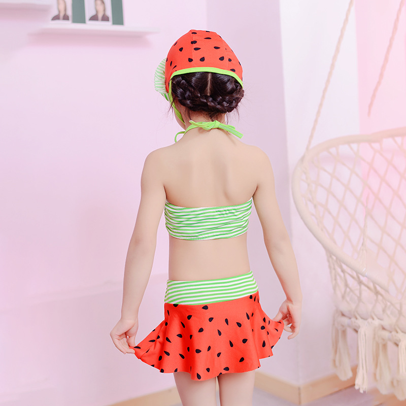 South Korea CHILDREN'S Swimsuit Small CHILDREN'S Bikini Three-piece Set Girls Baby Quick-Dry GIRL'S Hot Springs Swimsuit With Ca