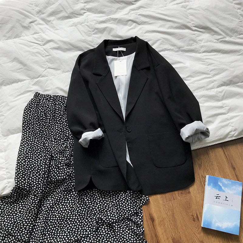 2020 Women Black Blazer Turn Down Collar Women Spring Coat Open Stitch Casual Office Style Blazer Casaco Feminino Outwear