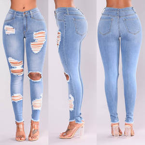 Jeans Pencil-Pants Calf Stretch Holes Torn Skinny Slim High-Waist Hot-Sale Plus-Size