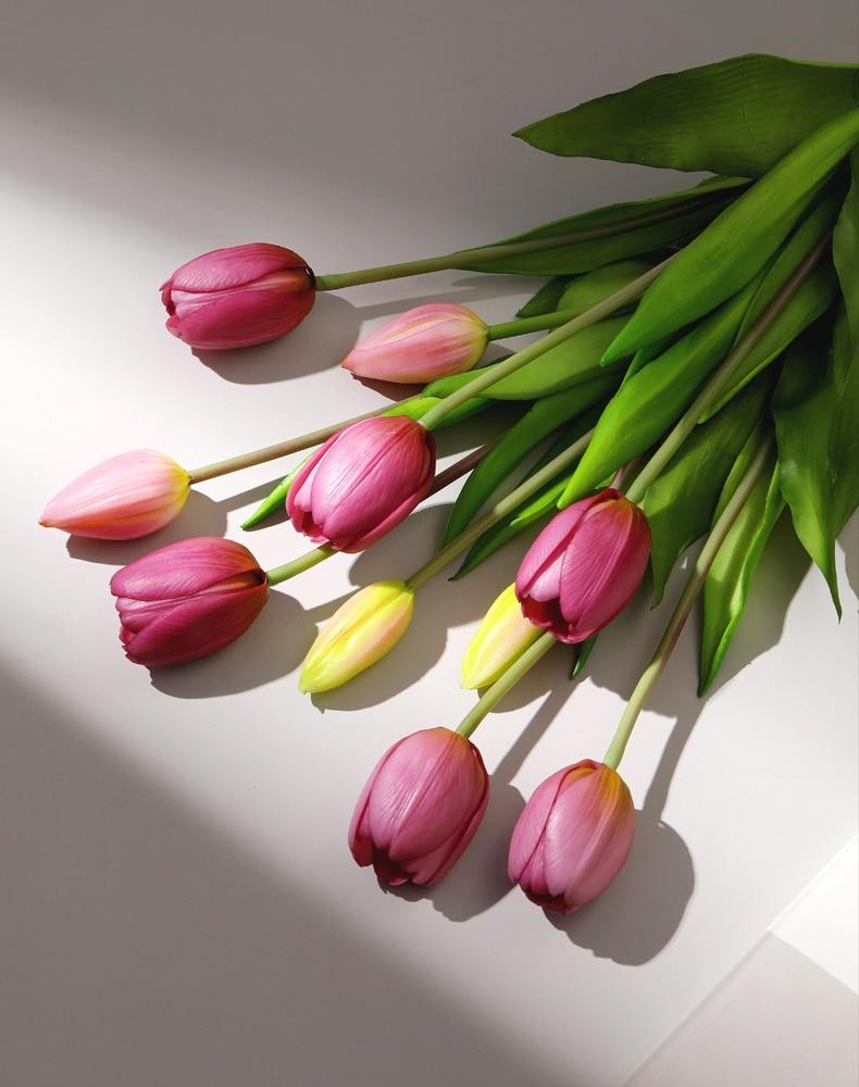 JAROWN 5 Heads Tulip Artificial Flower Real Touch Artificial Bouquet Fake Flower for Wedding Decoration Flowers Home Garden Decor (118)