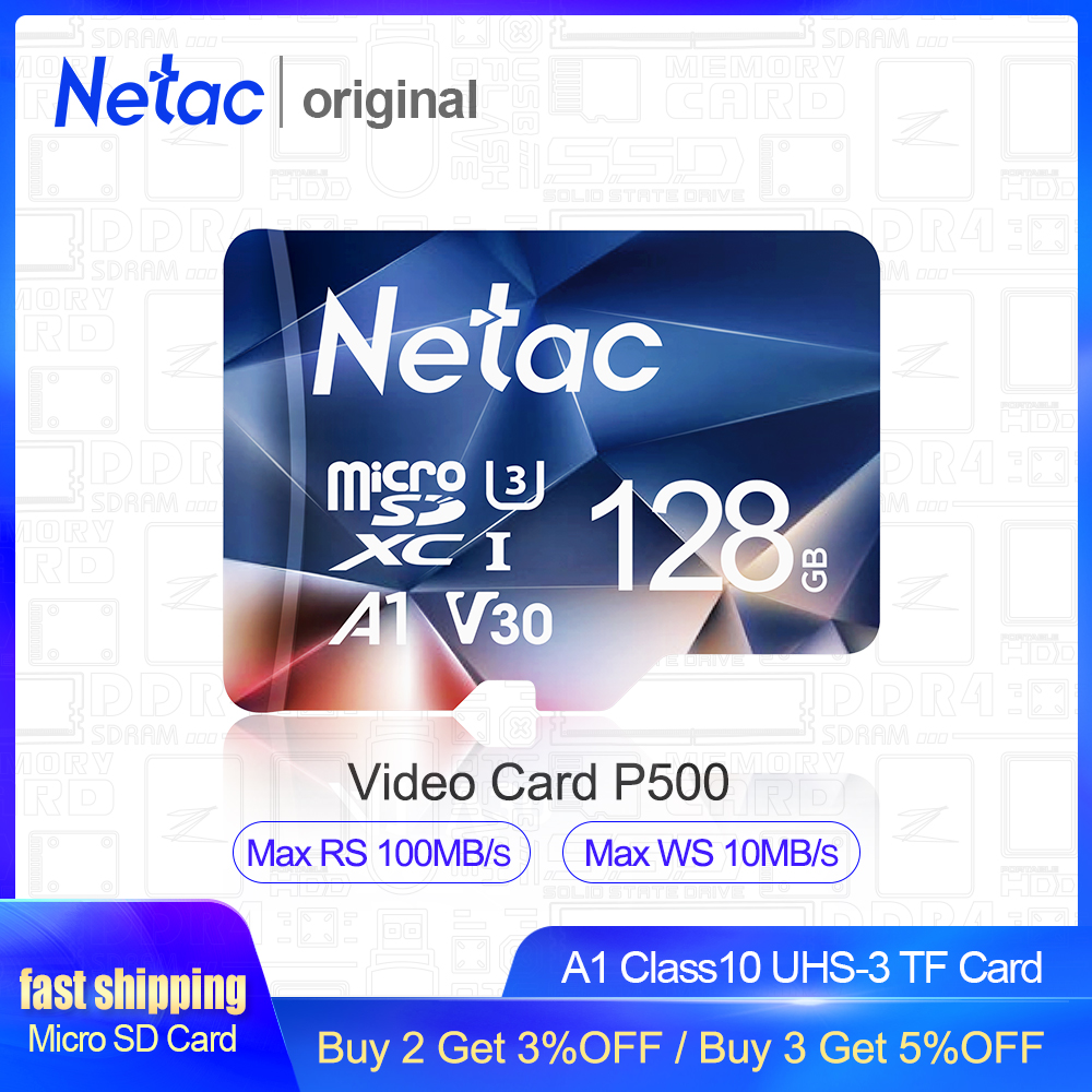 Netac Micro SD карта 512 ГБ 256 ГБ 64 Гб 32 Гб 16 Гб карта памяти SD карта 128 ГБ C10 UHS 1 U3 V30 P500 карта памяти Microsd TF карта