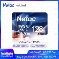 Netac cartão micro sd  512gb 256gb 64gb 32gb 16gb cartão de memória sd 128gb cartão de memória  c10 uhs 1 u3 v30 p500 cartão flash microsd tf