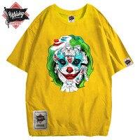 Джокер, Европейский и американский бренд, свободная индивидуальная Футболка, большой принт, хлопок, хип-хоп, уличная злая футболка с коротки...