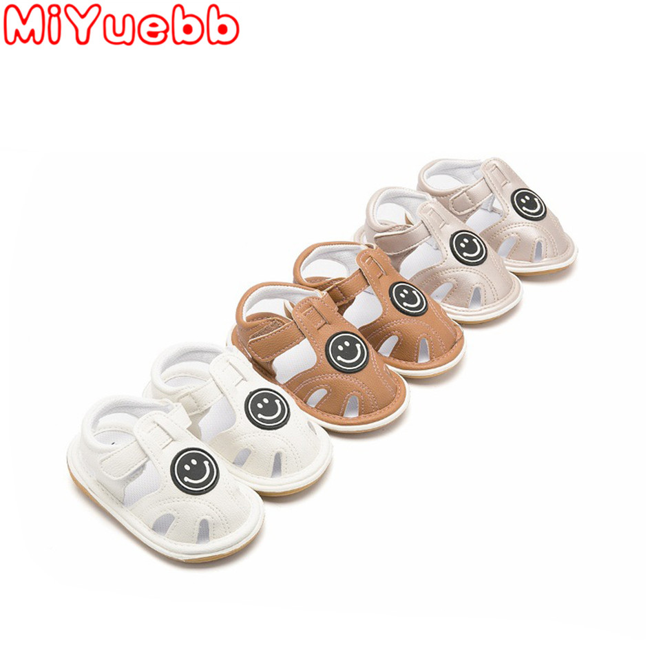 Baby Sandals 2020 Summer Toddler Girl Shoes Baby Boy Sandals Anti-slip Sandals Newborn Smiley Pattern Soft Pre-walking Shoes  FJ