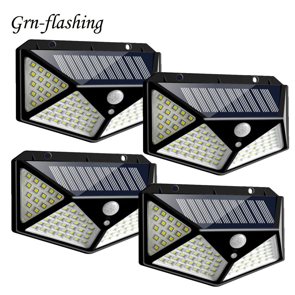 4pcs 100leds Smart Solar Outdoor Wall Light Solar Powered Garden Lamp IP65 Waterproof LED Motion Sensor Lamp Energy Night Light