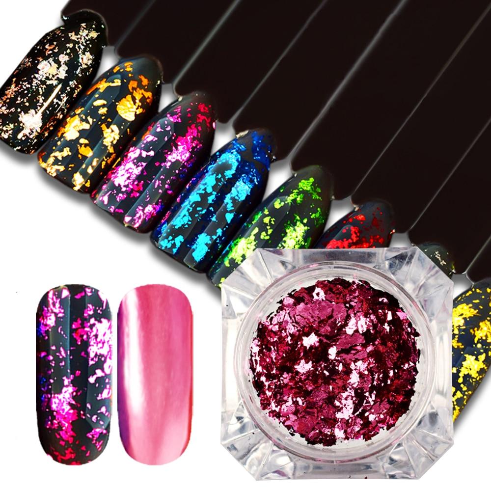Magic Mirror Chameleon Glitter Nail Flakes Sequins Powder Gold Silver Red Irregular Paillette Manicure Nail Decoration SACB01-08