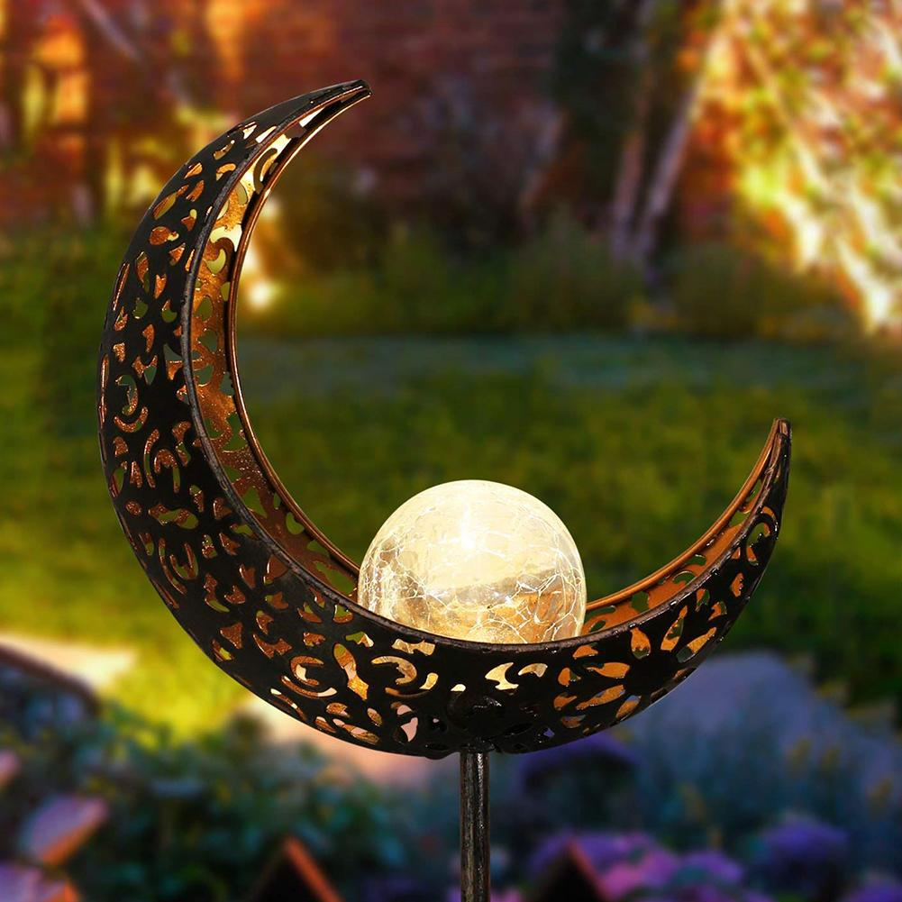 Fashion Outdoor LED Solar Powered Moon Flame Garden Yard Lawn Stake Light Decor Lamp