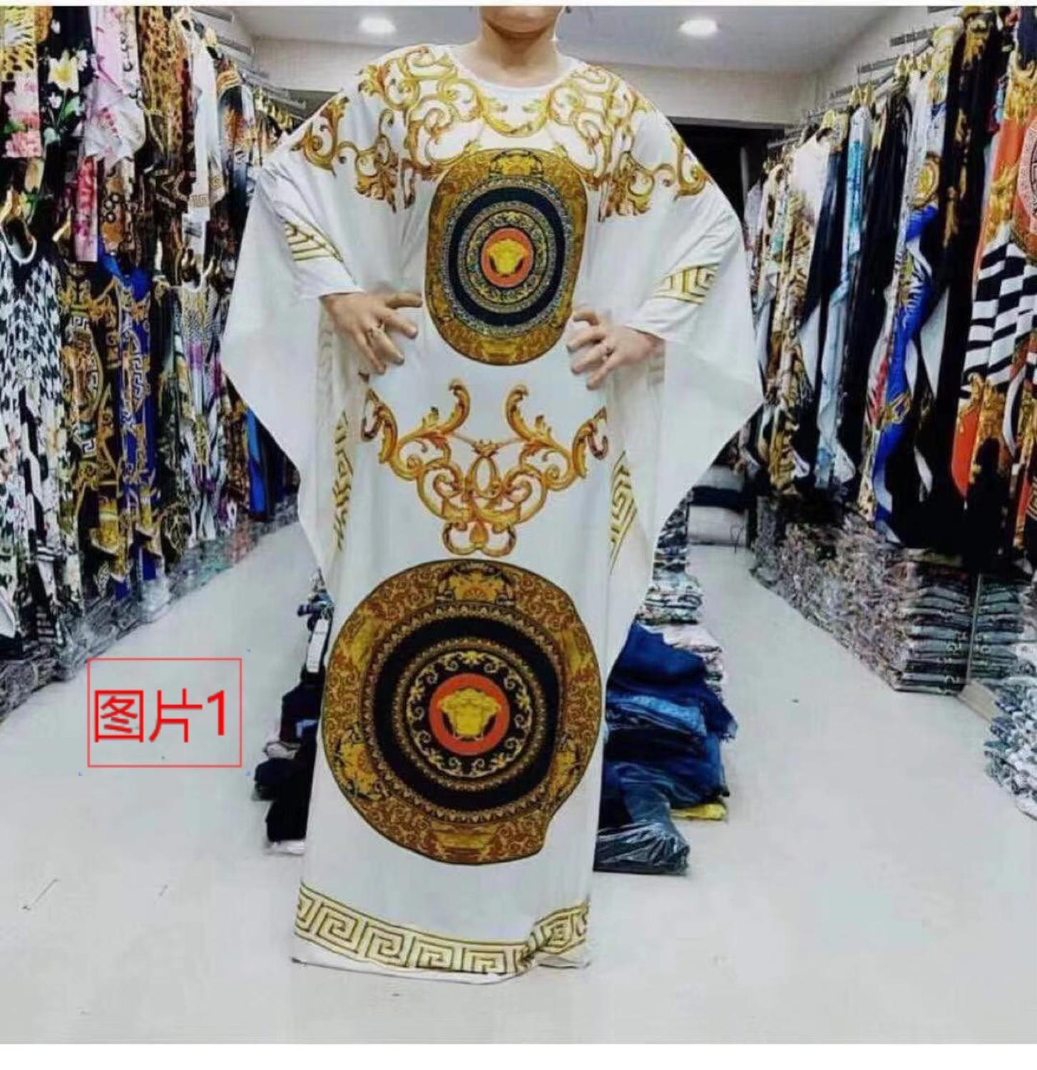 African Design Print Dashiki Dress Bazin Maxi Robe Gowns Broder Riche Sexy Loose Ruffle Sleeve Traditional Hipster