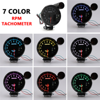 Car Digital Tachometer RPM 5 127mm 12V LED Display Colorful Tachometer Gauge + Speed Warning Light Universal Tachometer Meter