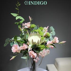 Image 4 - النيلي الضوء الأرجواني Protea Cynaroides باقة زهرة اصطناعية الزفاف العروس اليد باقة أزهار حفلة الحدث شحن مجاني