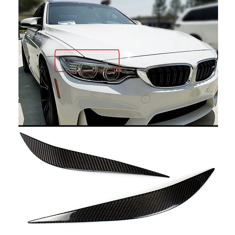 Front Lamp Eyelids Fits For Bmw F80 M3 F82 F83 M4 F32 F33 F36 2014-2018 Real Dry Carbon Fiber Headlight Eyebrows Cover Trims
