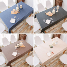 цена на Waterproof linen coffee restaurant cotton and linen table cloth fabric coffee table plain solid color rectangular table cloth
