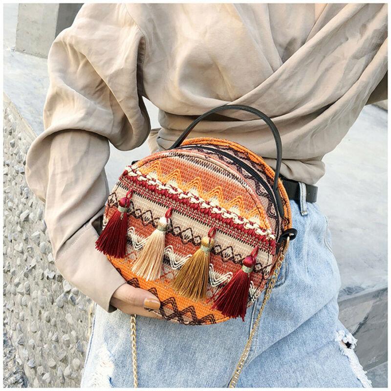 Women Beach Straw Woven Bags Rattan Basket Shoulder Handbag Sports Travel Round Bags