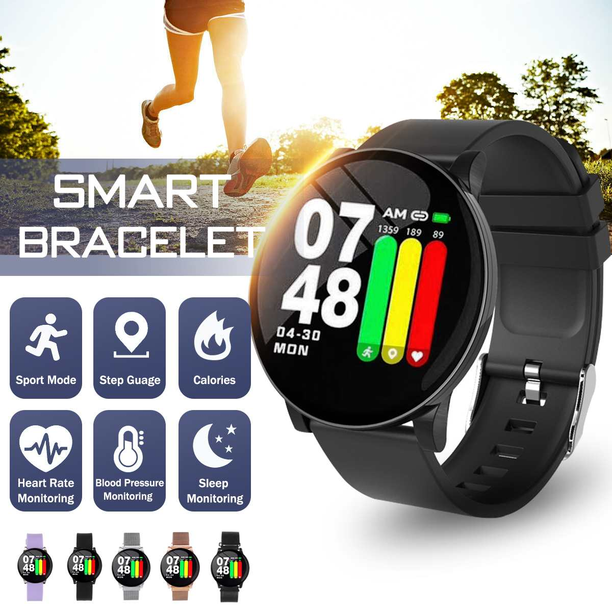 bluetooth Smart <font><b>Watches</b></font> Men Women IP67 Waterproof Pedometer Heart Rate <font><b>Blood</b></font> <font><b>Pressure</b></font> Monitoring Clock Sport Fitness Smartwatch image