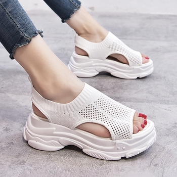 Women Platform Sandals Summer Mesh Breathable Slip on Casual Female Open-toe White 2020 Outdoor Beach Sandals Chunky Woman Shoes 2017 new fashion hgh top women sandals rome styles open toe summer beach shoes slip on female buckles sandals