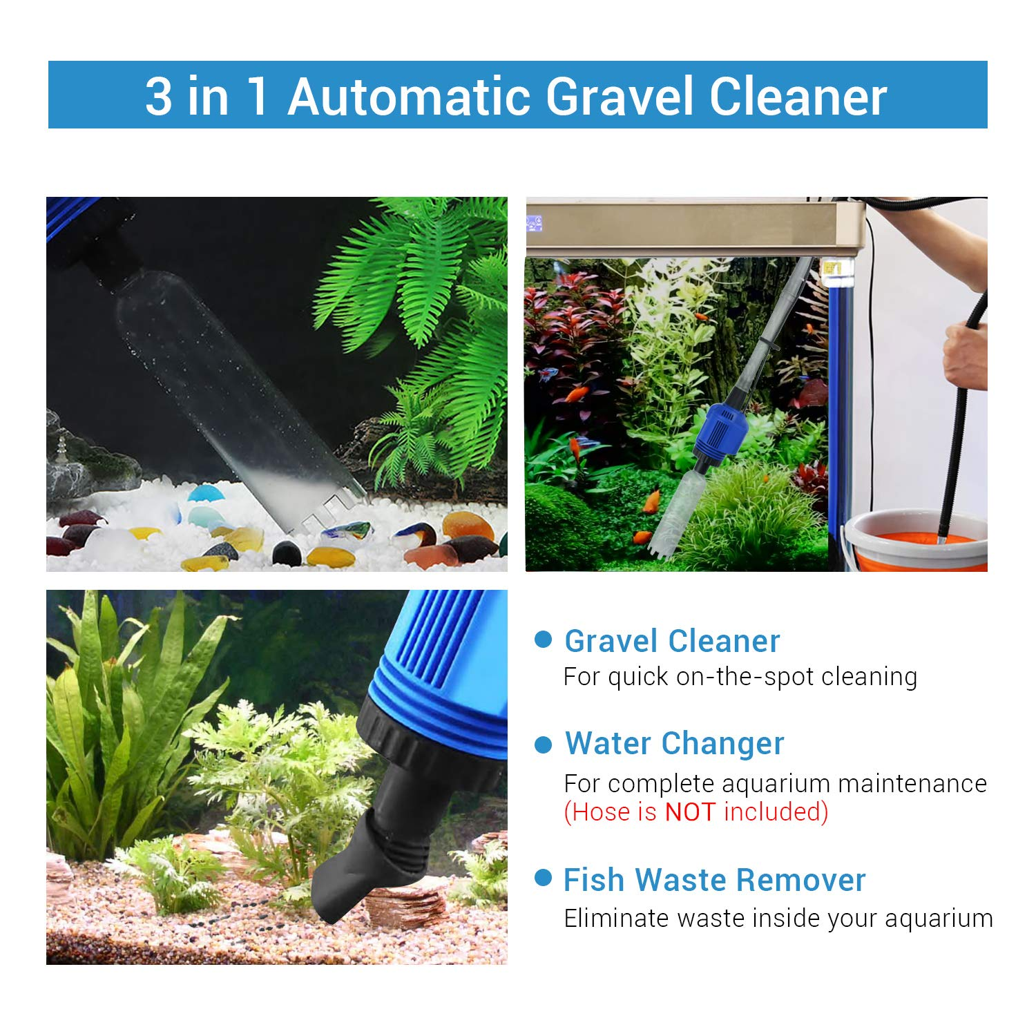 Image 2 - 3 in 1 Electric Aquarium Vacuum Gravel Cleaner Automatic Water 