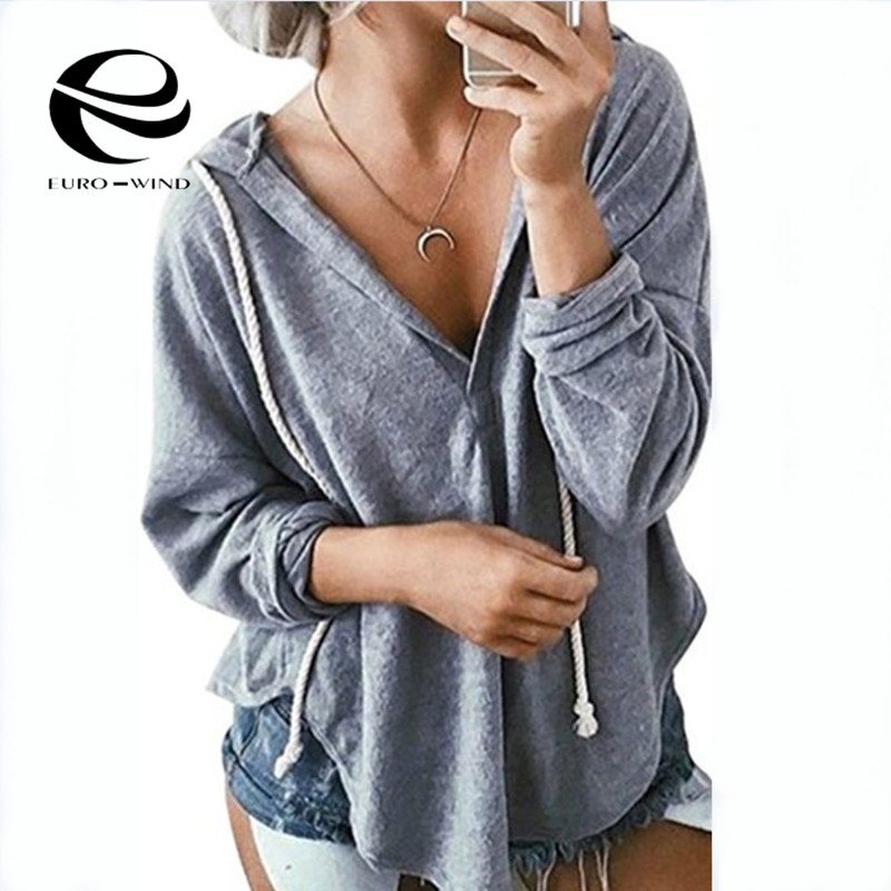 Plus Size Harajuku Women's Sweatshirt And Hoody Ladies Oversize Solid V Neck Hood Casual Hoodies Pullovers Femme For Women Girls