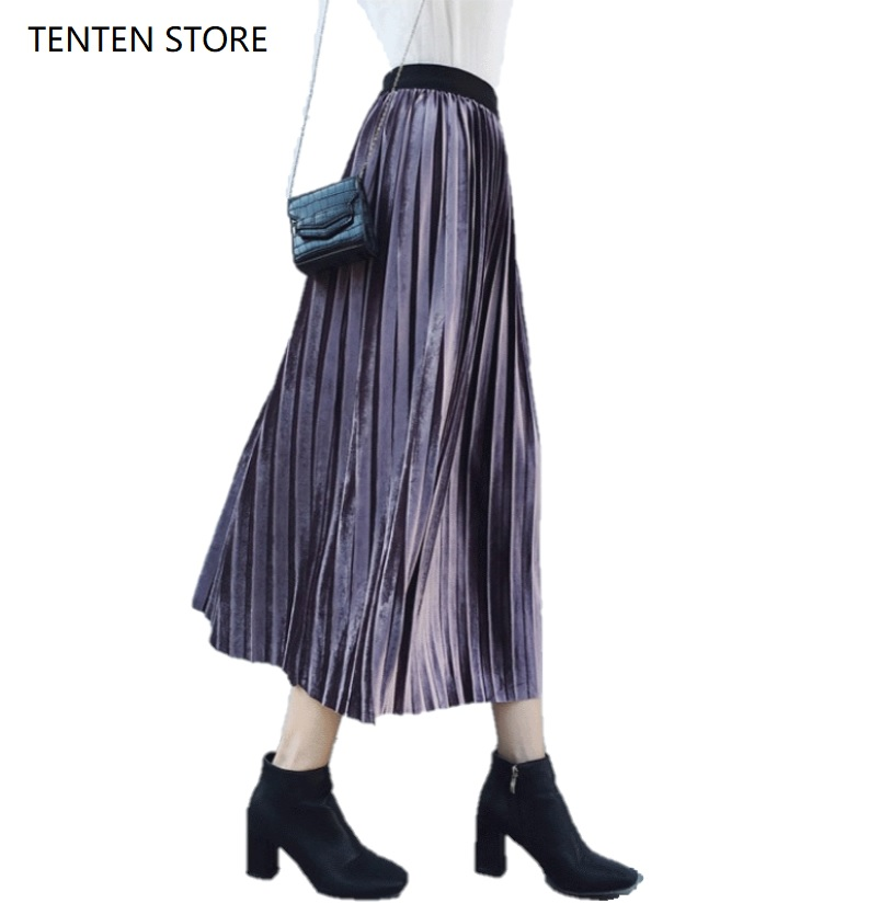 Fall Winter Pleated Velvet Maxi Skirts Women High A Line Waist Pleuche Vintage Elegant Long Black Red Purple Green Skirts Female