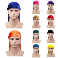 Moda Pure Color Durags pałąk dla mężczyzn kobiety miękkie stałe Durags Headwrap pałąk czarny długi tren doo-szmaty czapka piracka tanie tanio CN (pochodzenie) Koral polar Dla dorosłych Bandany