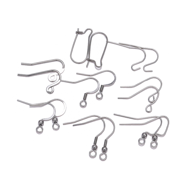 50pcs/lot 8 Shapes Stainless Steel Ear Hook Clasps Hooks Earring Findings Earwire For Jewelry Making Craft Supplies Accessories