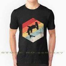 Ретро 70S акула-молот значок Лето забавная футболка для Для мужчин Для женщин Для мужчин Акула Рыба в виде пасти акулы морским обитателям, мор...