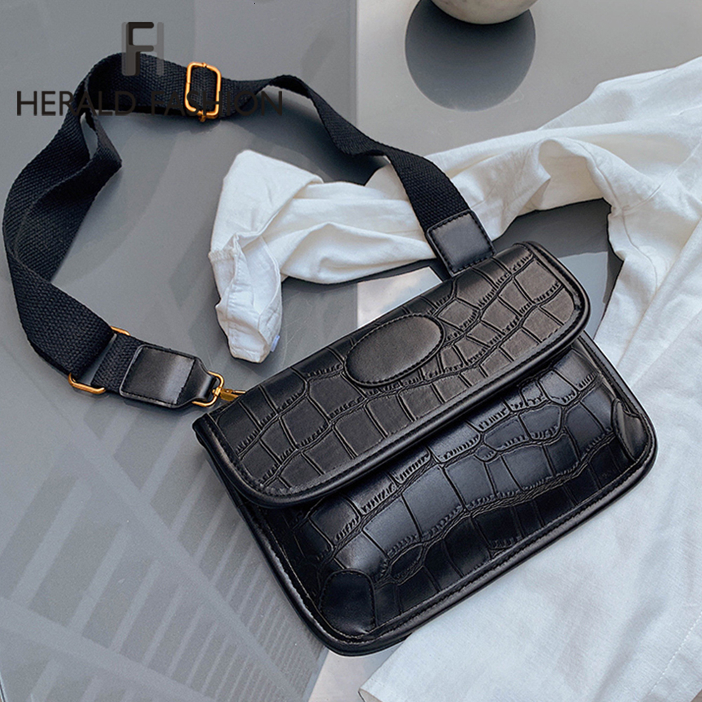 Herald Fashion Vintage Waist Bag Women PU Leather Belt Bag Waist Pack Travel Belt Wallets Phones Fanny Bags For Ladies Autumn