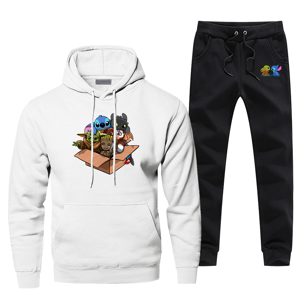 Baby Yoda Stitch Groot Tracksuit Men's Sportswear Kawaii Full Team The Mandalorian Sets 2020 New 2 Piece Sweatshirt + Sweatpants