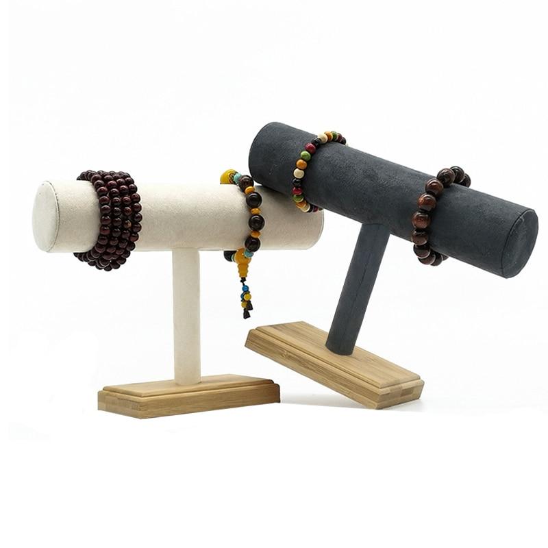 1pc de madeira de bambu único nível t-bar rack pulseira relógio pulseira display titular suporte cinza escuro/bege veludo jóias organizador