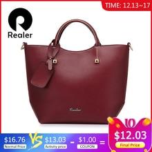 REALER женская сумочка, большая сумка ведро с короткими ручками, дизайнер сумок высокого качества из искуственной кожи, алая вечерняя сумка на ремне через плечо,дамские сумки мешок, моды топ-ручка хобо