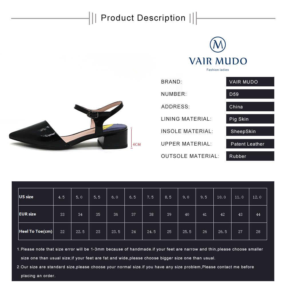 Kadın pompaları ayakkabı düşük topuklu siyah beyaz Patent deri ayak bileği toka ayakkabı yaz moda sandalet sivri burun kalın topuklu D59