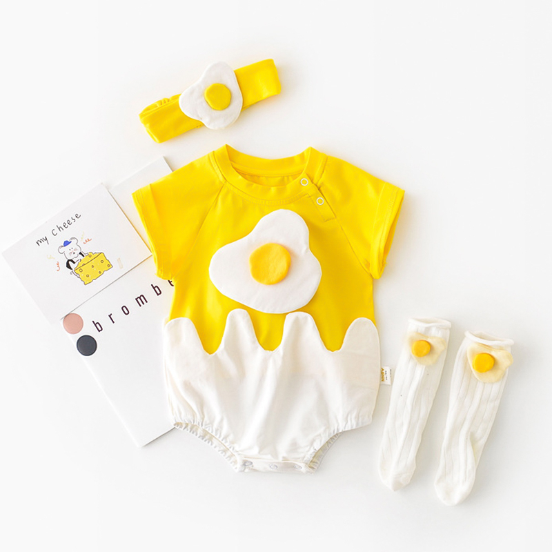 2020 Newborn Baby Rompers Cartoon Cute Eggs Infant Toddler Costume New Fashion Cotton Girls Boys Clothes Outfits Send Hair Band