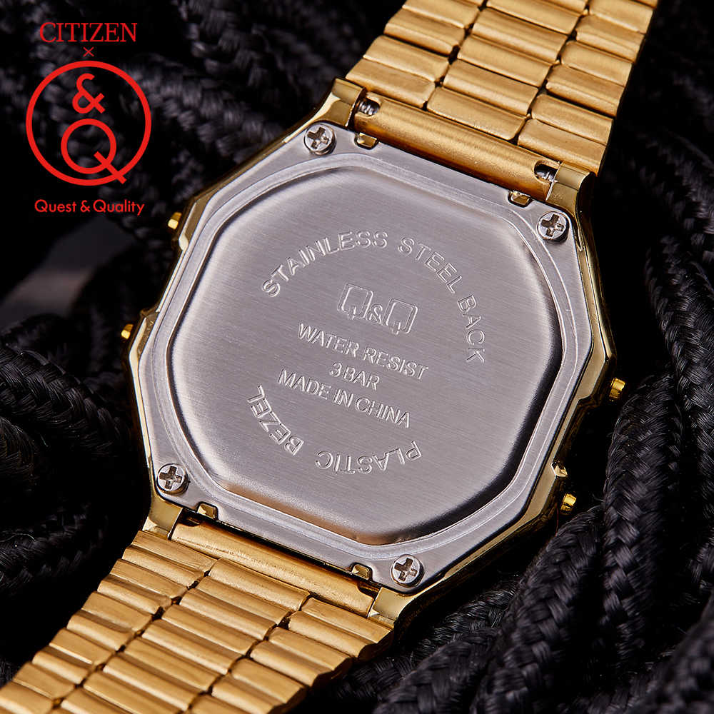 Citizen Q&Q watch men Gold Top Brand Luxury Set 30m Reloj de cuarzo resistente al agua Reloj deportivo Reloj retro Relojes clásicos Luminoso Relogio Reloj digital Reloj militar para hombres Reloj cronógrafo relogio