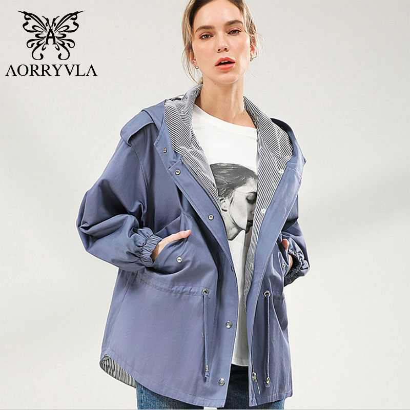 AORRYVLA Casual Women's Trench Coats Cotton Khaki Oversized Hooded Trench Coat Loose Style Korean Woman Clothes For Spring 2020