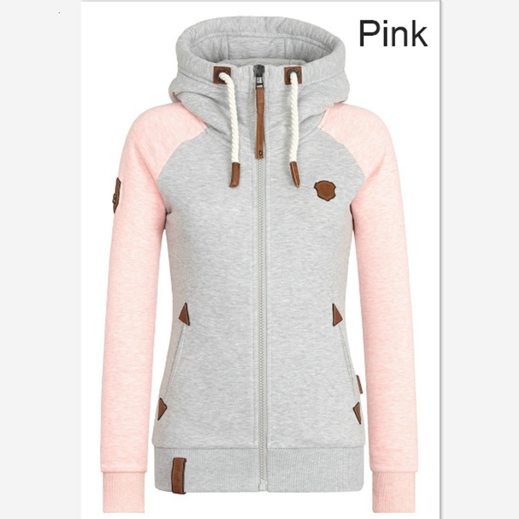 Autumn Hoodie Hoody Zipper Pocket Hooded Sweatshirt Woman Warm Hoodies Long Sleeves Drawstring Sweatshirt Outwear Top Coat