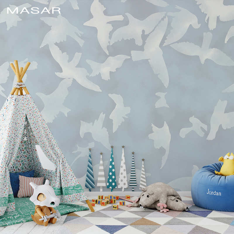 MASAR Analog Painted Dense White Dove Mural Living Room TV Background Wall Bedroom Bedside Wallpaper Peace Pigeon