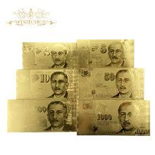 6 unids/set nuevo billete de oro de Singapur 2 5 10 50 100 1000 billete de oro SDD en papel falso de oro de 24k dinero para la colección