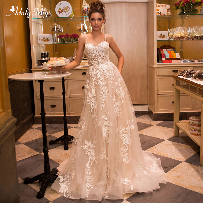 Adoly Mey Gorgeous Appliques Court Train A-Line Wedding Dress 2020 Luxury Spaghetti Straps Beaded Princess Bridal Gown Plus Size
